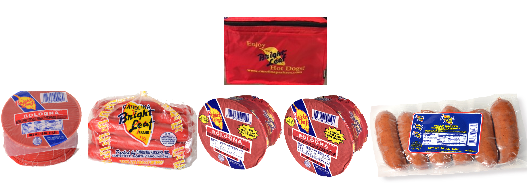 Bright Leaf Thick Grillin' Bologna Gift Bag (2-Thick Grillin' Bologna, 1-Regular Bologna, 1-Hot Dog, 1-Smoked Sausage)