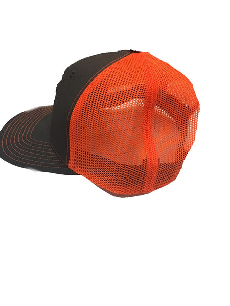 Gray / Blaze Orange Mesh Snapback Hat