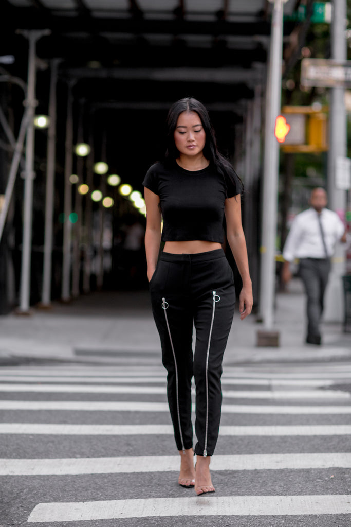 Black Extended Wool Pants