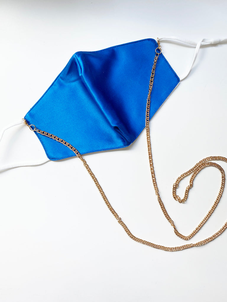 Fashion Face Mask with Gold Chain- Cobalt Blue