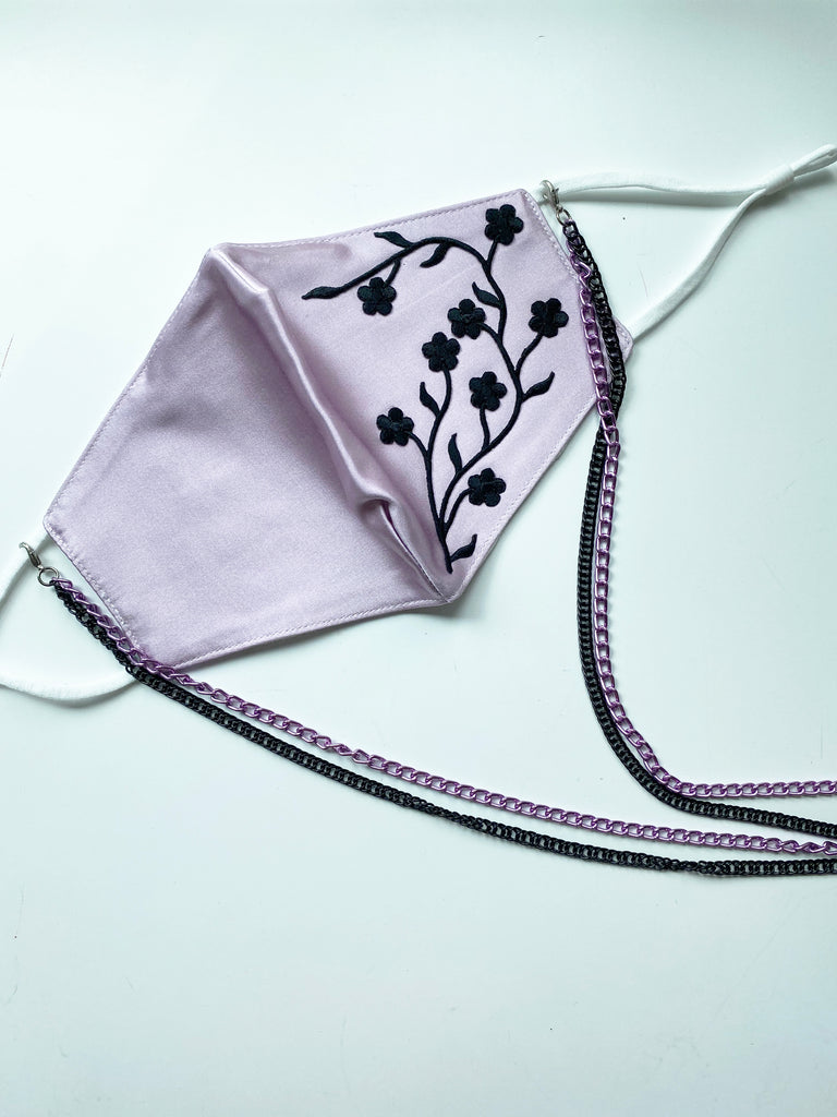 Applique Face Mask- Purple Mini Floral (backordered expect 7-10 days)