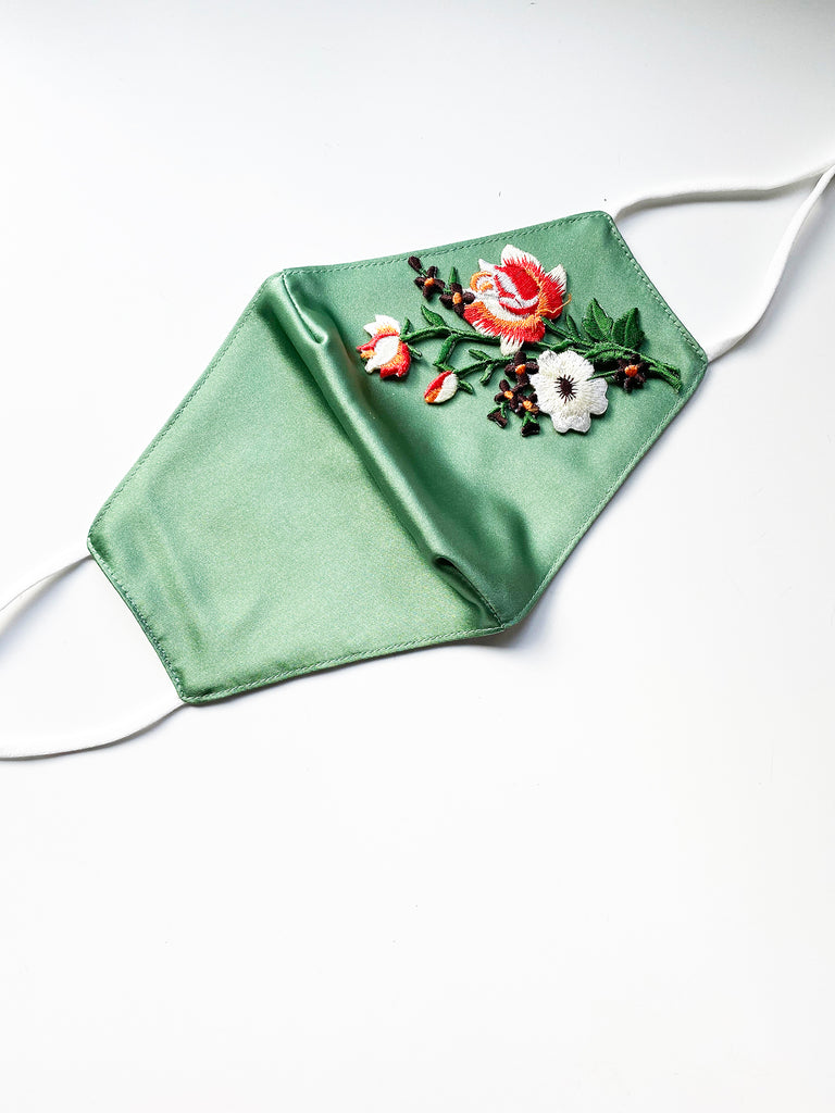 Applique Face Mask- Green Bouquet