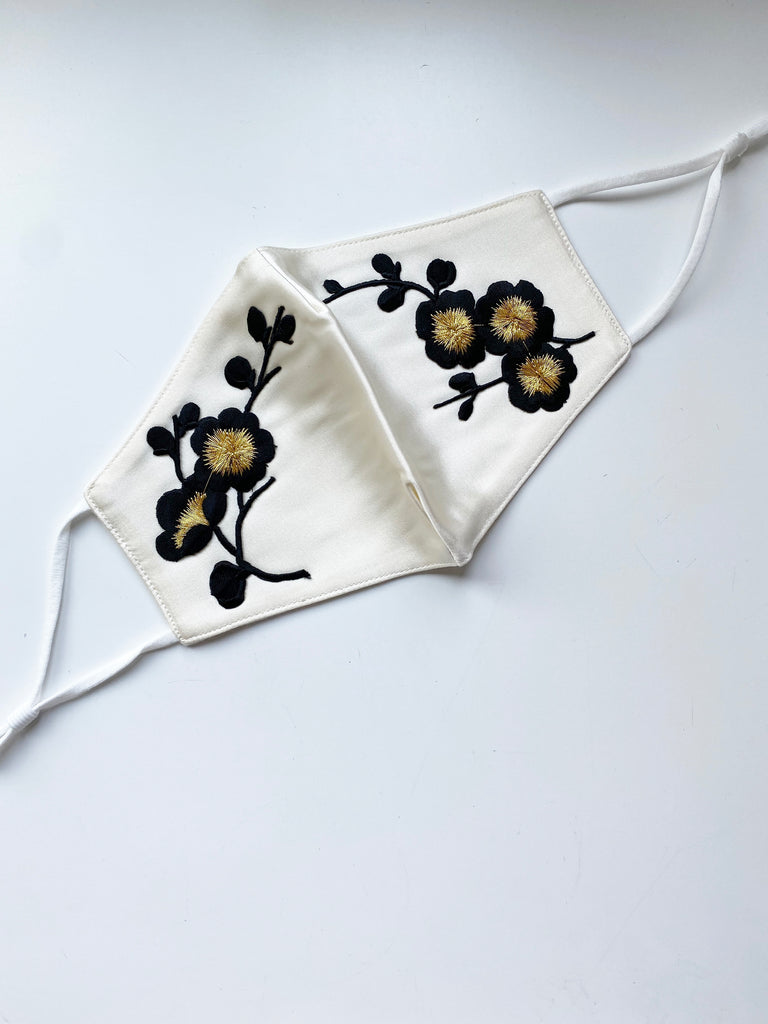 Applique Face Mask- Golden Floral