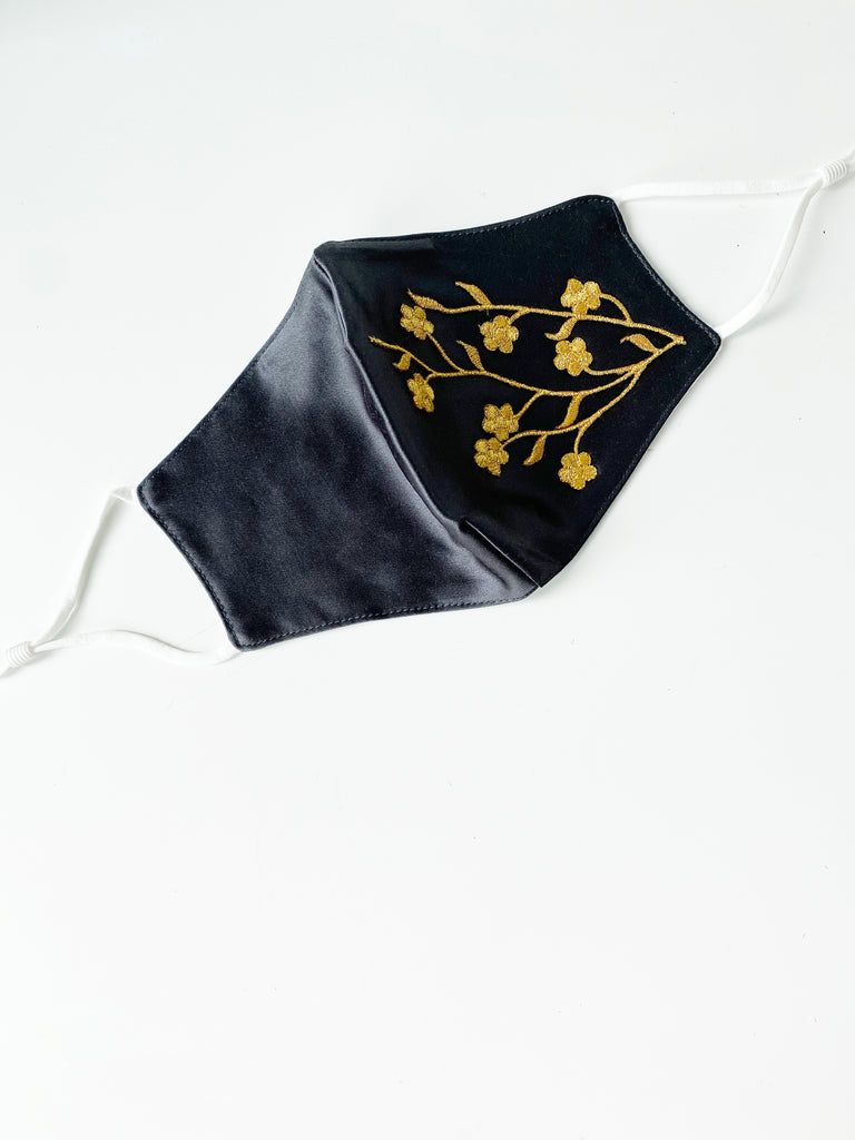 Applique Face Mask- Black Golden Mini Floral