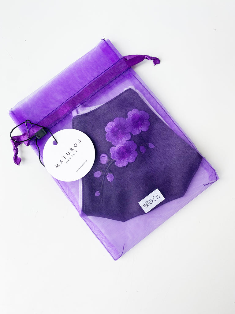 Applique Face Mask- Purple Floral