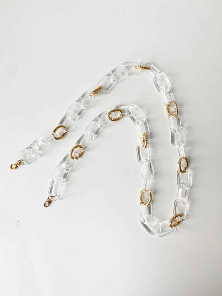 APPLIQUÉ MASK WITH TRANSLUCENT CHAIN- IVORY ASH LEAF