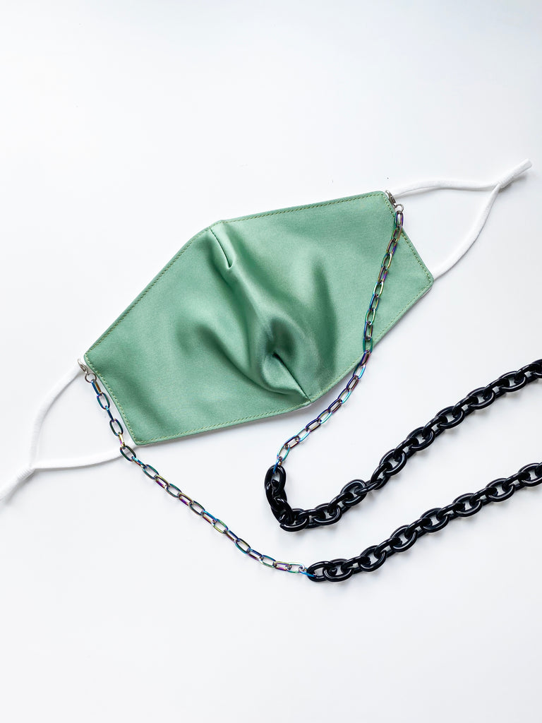 Fashion Face Mask with Mixed Media Chain- Kelly Green