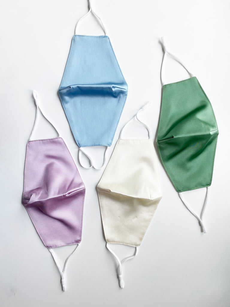 Darted Satin Face Mask- Solid Colors