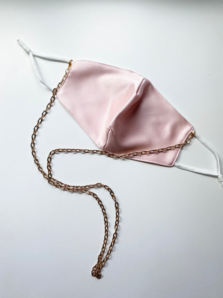 Fashion Face Mask With Gold Chain- Blush Pink