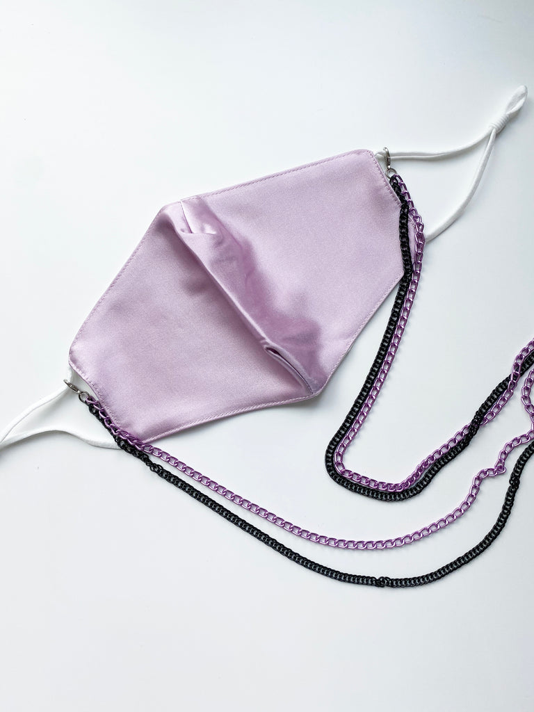 Fashion Face Mask with Purple Double Chain