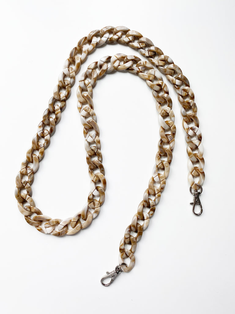 Mask with Tortoise Resin Chain- Ivory- (backordered)