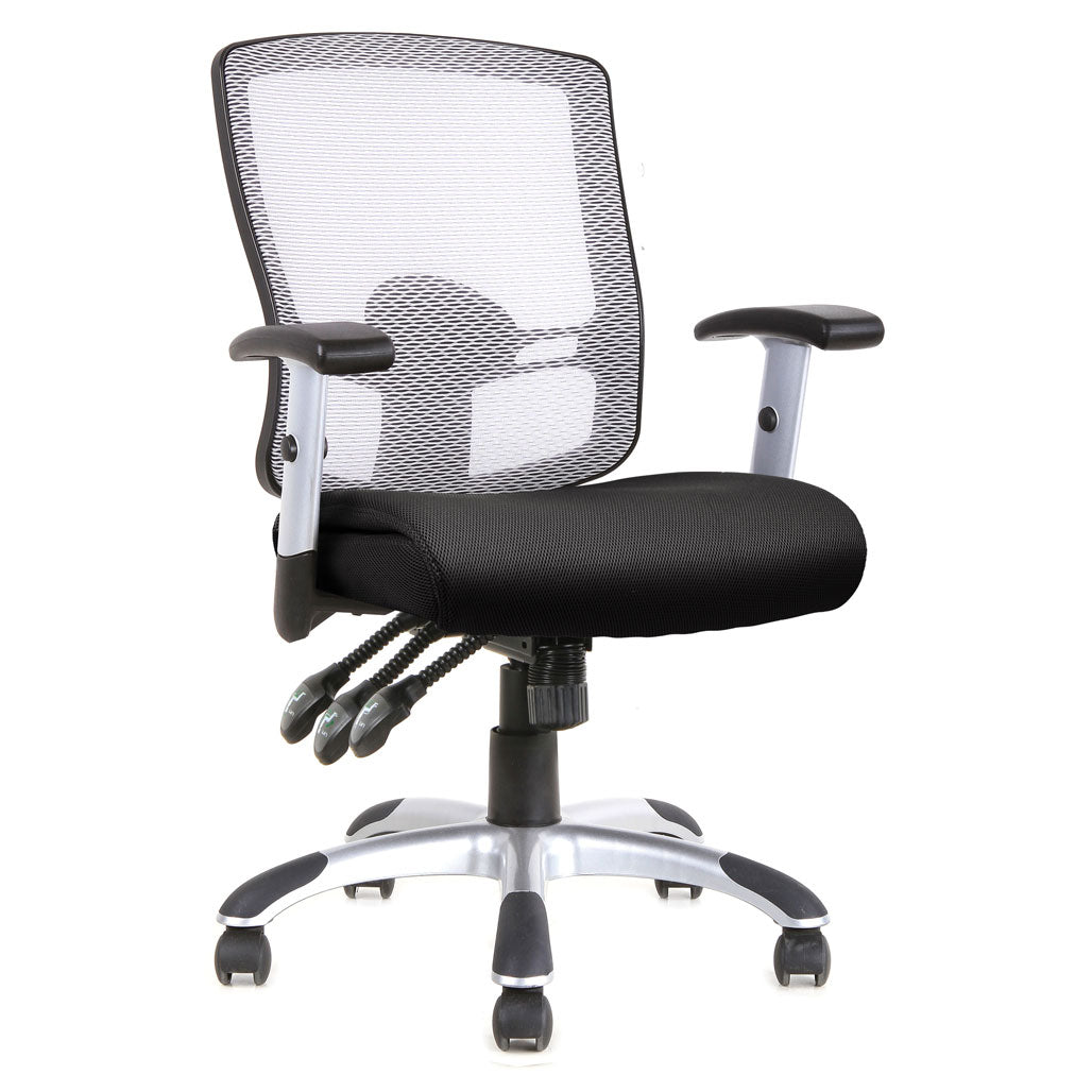 Mesh, 3 Paddle Task Chair with Chrome Base and Arms