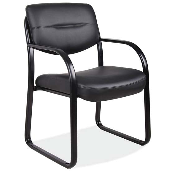 Sled Base Guest Chair with Arms and Black Frame