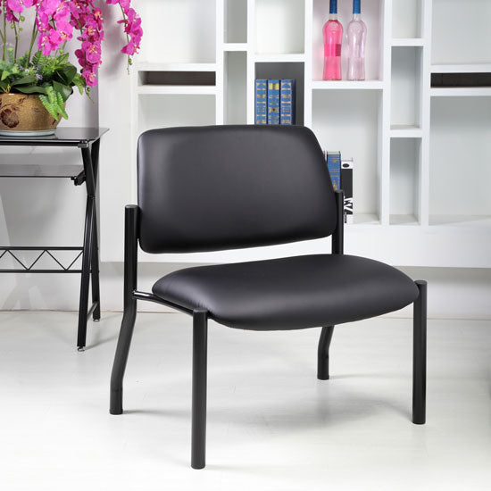 Big & Tall Armless Guest Chair with Black Frame Weight Capacity 500LBS