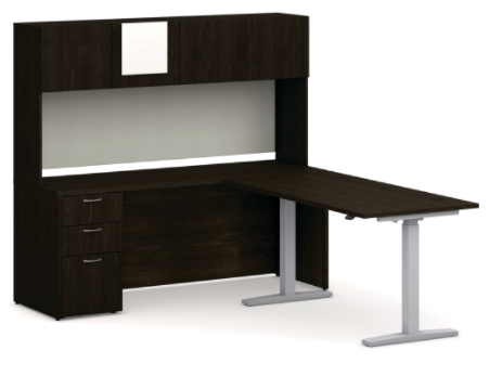 "L-Station with Adjustable Height Desk 72""W x 84""D"