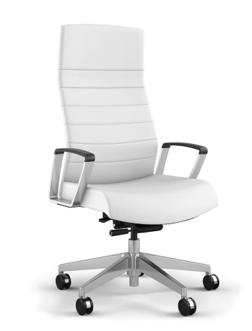 Contemporary White Vinyl Conference Chair