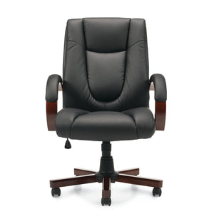 11300B Luxhide Tilter Chair w/ Wood Arms and Base