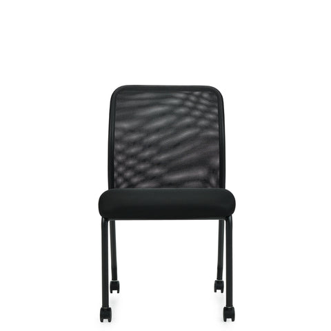 11761B Armless Mesh Back Guest Chair w/Casters