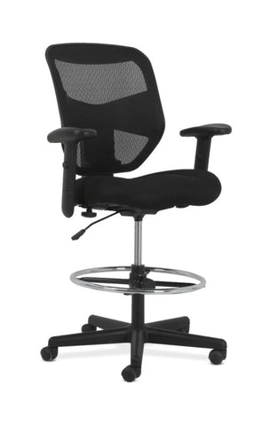 HON Prominent High-Back Task Stool | Height-and Width-Adjustable Arms | Black Mesh Back