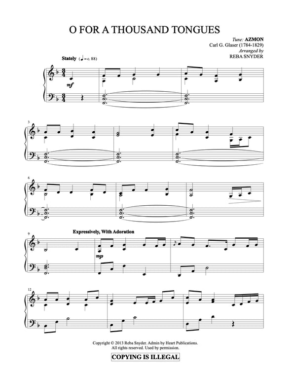 O For A Thousand Tongues To Sing (Piano Solo)