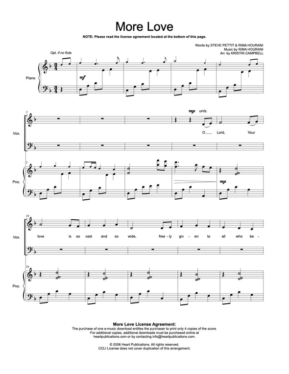 More Love (SATB or ST Duet)