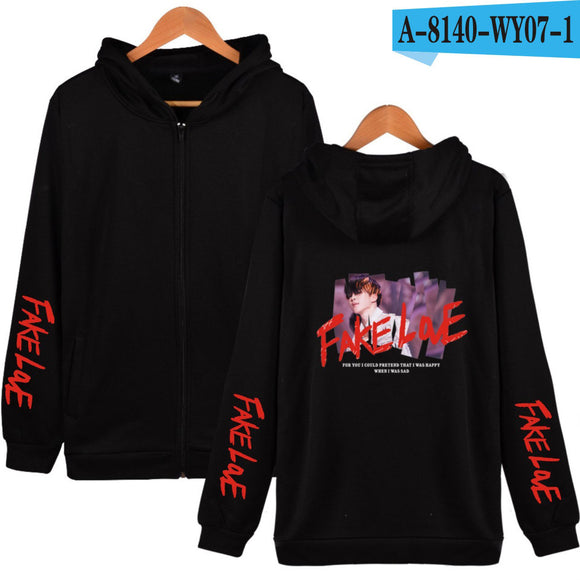 BTS Fake Love MV Zip Up Hoodie - Free WorldWide Shipping