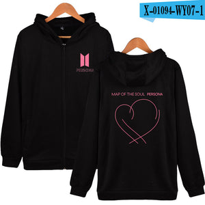 BTS Persona Heart Drawing Zip Up Hoodie - Free WorldWide Shipping