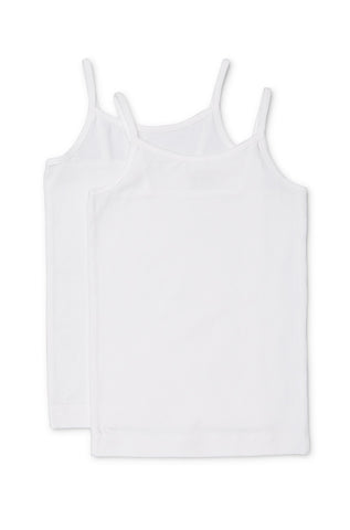 Marquise Girls White Singlet 2 Pack