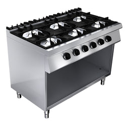 GAS STOVE: 6 BURNERS & OPEN BASE - Culinary Equipment Company