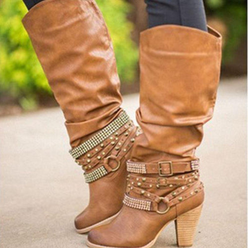 High Heels Thick With Round Head Rhinestone High Boots