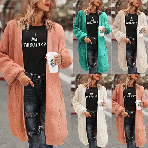 Lantern Sleeve Cardigan Loose Knitted Sweater Coat