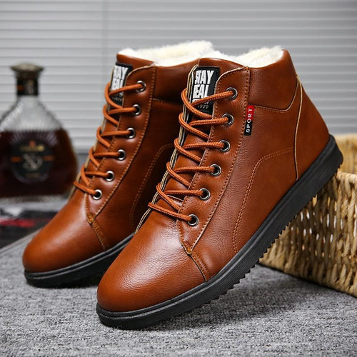 Men Plush Lining Warm High Top Casual Leather Boots