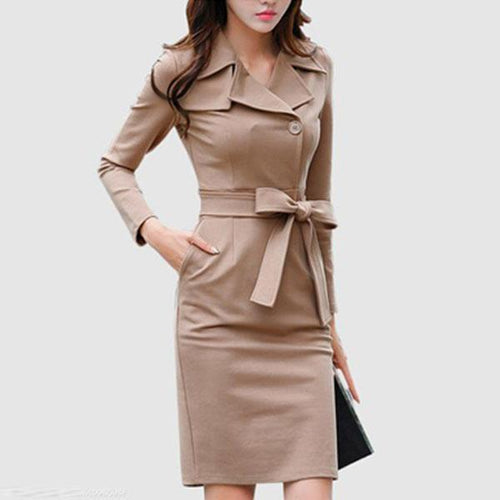 Formal Lapel Belt Solid-Color Bodycon Dress