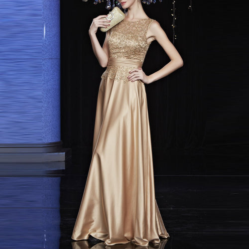 Elegant Wedding Long Section Evening Party Dress