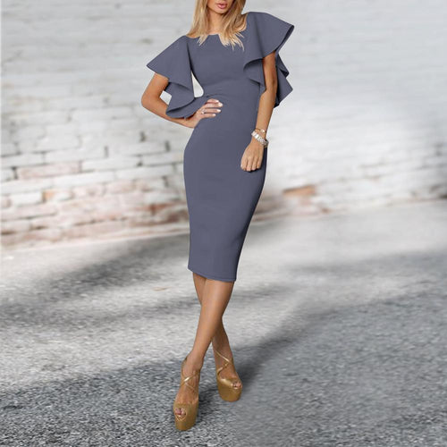 Gray Falbala  Bodycon Dress