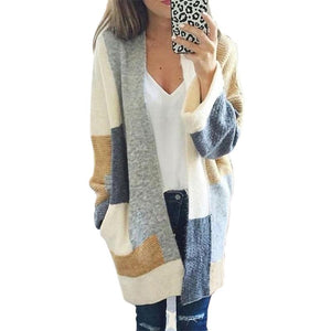Colorblock Loose Large Size Cardigan Sweater