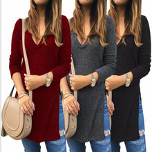 Load image into Gallery viewer, Sexy Split V-Neck Knits Sweater