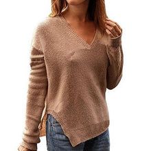 Load image into Gallery viewer, Split V-Neck Long Sleeve Irregular Sweater