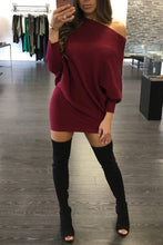 Load image into Gallery viewer, Fashion Pure Color Splicing Off Shoulder Sweater Dress