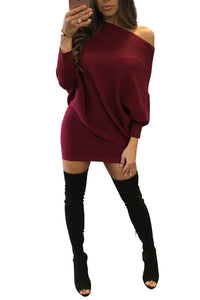 Fashion Pure Color Splicing Off Shoulder Sweater Dress