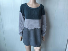 Load image into Gallery viewer, Off-The-Shoulder Knit Striped Loose Sweater