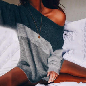 Off-The-Shoulder Knit Striped Loose Sweater