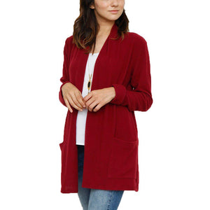 Fashion Pure Color  With Pocket Cardigan