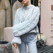 Load image into Gallery viewer, Openwork Lantern Sleeve Loose Crew Neck Sweater