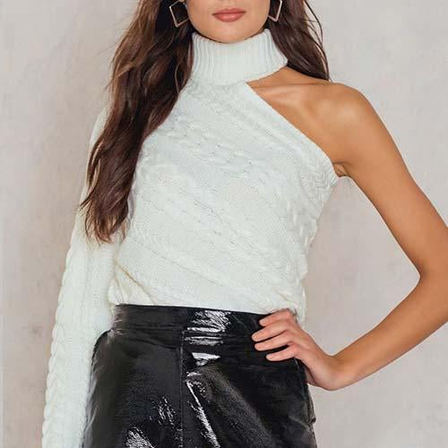 Off-The-Shoulder Single-Sleeve Twisted Turtleneck Sweater