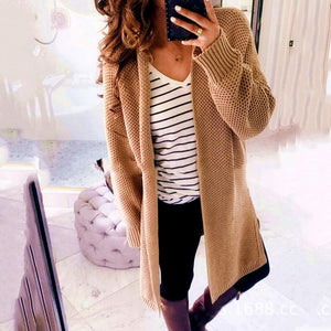 Fashion Solid Color Knit Cardigan