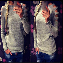 Load image into Gallery viewer, Shoulder Hollowed Out Round Neck Sweater
