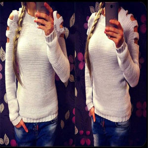 Shoulder Hollowed Out Round Neck Sweater
