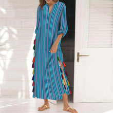 Load image into Gallery viewer, Cotton/Polyester Printed Stripe Tassel Casual V-Neck Dress