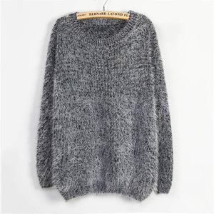 Mohair Pullover Sweater Large Size Long Sleeve Sweater